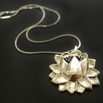 Large Lotus Necklace and Chain | Silver Botanica Jewelry