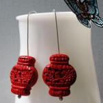 Red Paper Lantern Earrings | Silver Botanica Jewelry