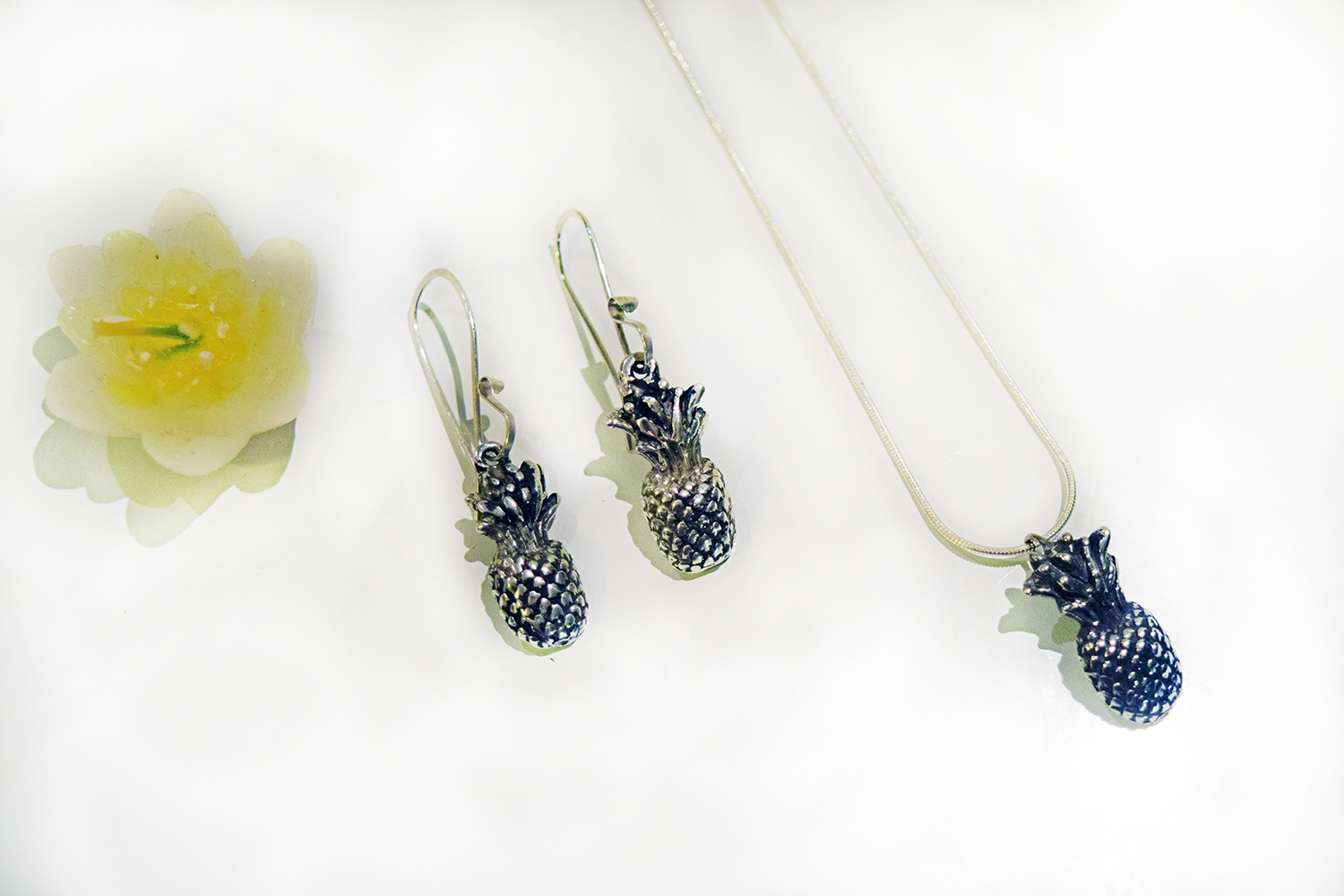 Pineapple Jewelry Silver With Ear Rings